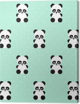 Quadro su Tela Panda seamless su pois sfondo verde. design carino per la stampa sui vestiti del bambino, tessile, carta da parati, tessuti. Sfondo vettoriale con sorridente del panda animale bambino. Illustrazione di stile del bambino.