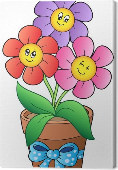 Quadro su tela pentola con tre fiori di cartone animato