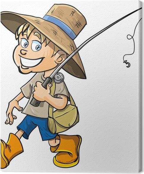 Quadro su tela pescatore di cartone animato con una canna
