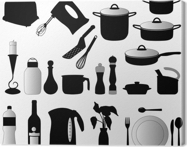 Quadro su Tela Piatti, pan, mixer e altri oggetti di cucina ...