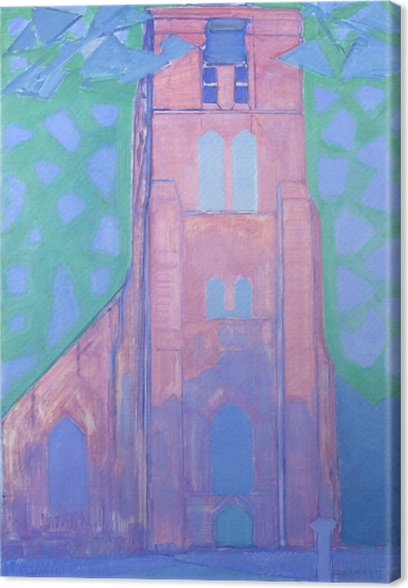 Quadro su Tela Piet Mondrian - Torre Chiesa a Domburg - Riproduzioni