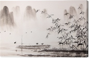 Quadro su Tela Pittura a inchiostro paesaggio cinese