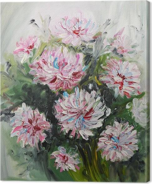 Quadro su tela pittura ad olio bouquet di fiori di peonia for Fiori dipinti a olio