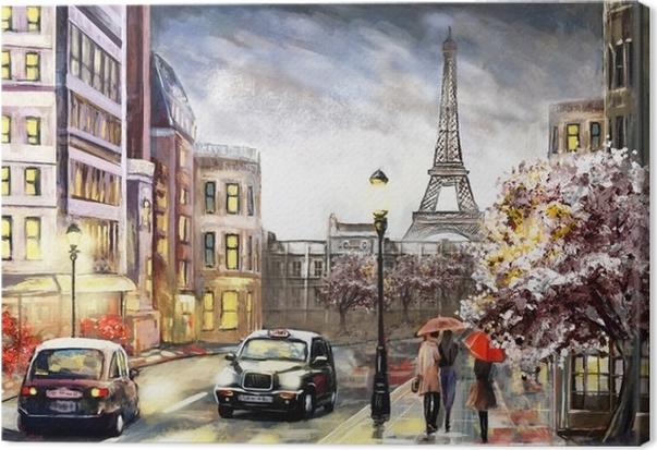 Quadro su tela pittura ad olio su tela street view di for Quadri di parigi