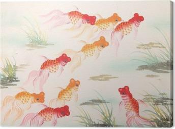 Quadro su Tela Pittura cinese pesci rossi