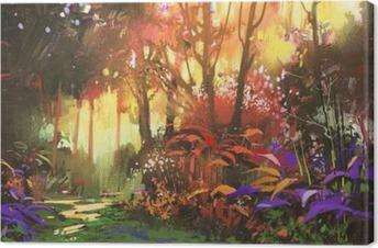 Quadro su Tela Pittura di paesaggio di bella foresta con la luce ...