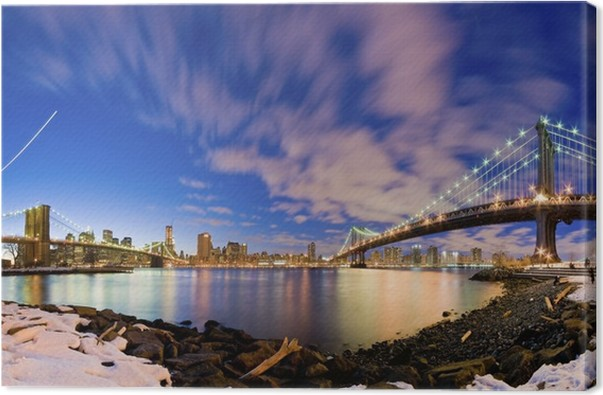 Quadro su tela ponte di brooklyn e manhattan bridge new york