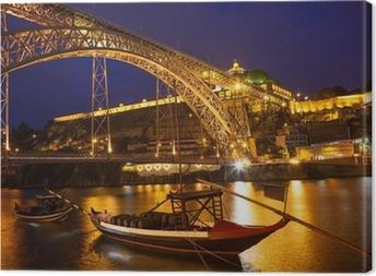 Quadro su Tela Ponte Dom Luis I over fiume Douro di notte. Porto, Portogallo