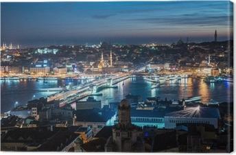Quadro su Tela Ponte sul Bosforo di notte a Istanbul Galata