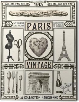 Quadro su Tela Poster Paris Vintage