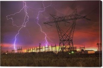 Quadro su Tela Power Station di distribuzione con Colpo di Fulmine.