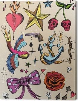 Quadri su tela premium Modelli di rockabilly tatuaggio colorato