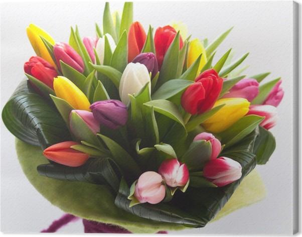 Quadro su Tela Primavera bouquet colorato con tulipani • Pixers ...