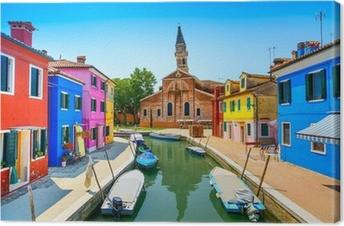 Quadro su Tela Punto di riferimento Venezia, Burano canale, le case, la chiesa e barche, Italia