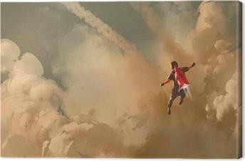 Quadro su Tela Ragazzo che vola nel cielo nuvoloso con razzo jet pack, illustrazione pittura