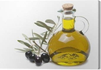 Quadro su Tela Ramo d'ulivo con olive nere y olio d'oliva.