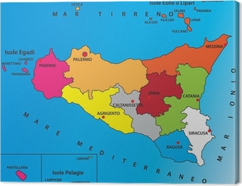 Stampa Cartina Sicilia.Quadro Su Tela Carta Geografica Della Sicilia Pixers Viviamo Per Il Cambiamento