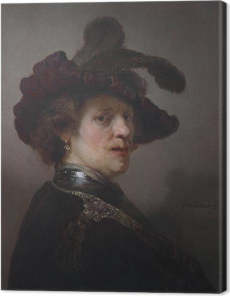Quadro su Tela Rembrandt - Autoritratto con cappello piumato - Riproduzioni