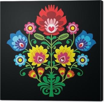 Quadro su Tela Ricamo popolare polacca con fiori - modello tradizionale