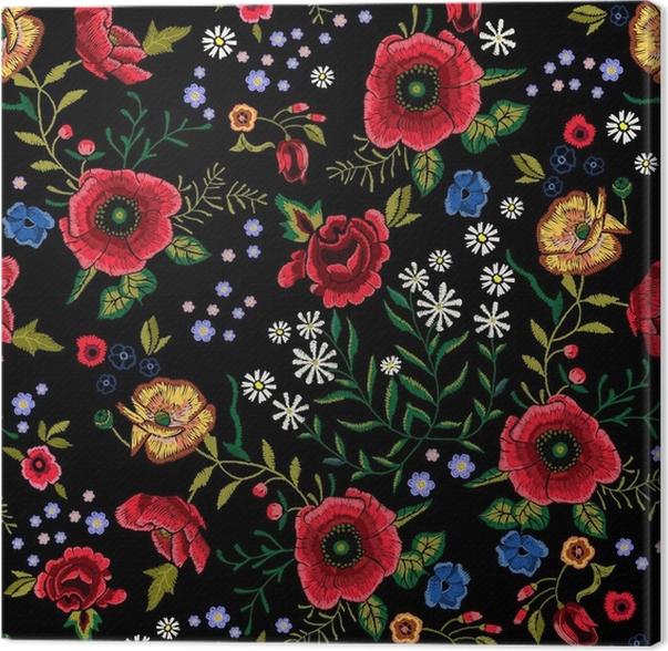 Quadro su tela ricamo tradizionale seamless con papaveri for Quadri con papaveri rossi