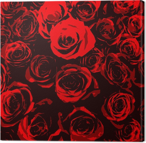 Quadro su tela rose rosse stilizzati su sfondo nero for Quadri con rose rosse