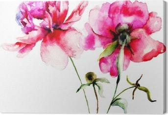 Quadro su Tela Rosso peonia fiori
