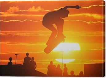 Quadro su Tela Salto estremo alto di skateboard skater boy