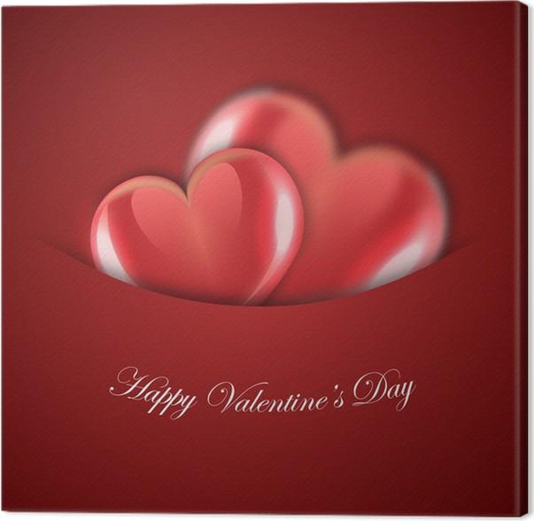 Quadro su Tela San Valentino di design rosso con cuori • Pixers ...