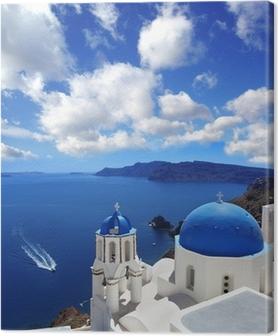Quadro su Tela Santorini con Chiesa tradizionale a Oia, Grecia