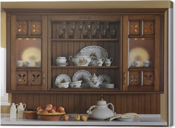Quadro su Tela Scaffali da cucina con piatti d\'epoca • Pixers ...