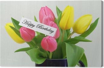 Quadro su Tela Scheda di buon compleanno con i tulipani colorati ...