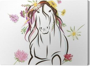 Quadro su Tela Schizzo Cavallo con decorazione floreale per il vostro disegno. Simbolo di