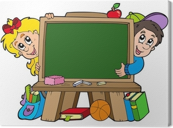 Quadro su Tela Scuola lavagna con due bambini