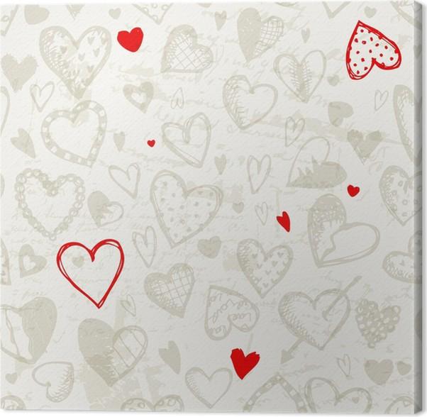 Quadro su Tela Seamless pattern con cuori San Valentino, disegno ...