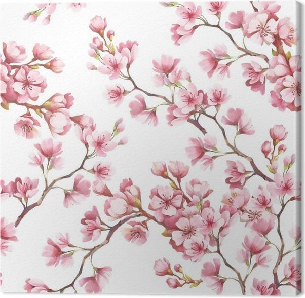 Quadro su Tela Seamless pattern con fiori di ciliegio. Illustrazione ...