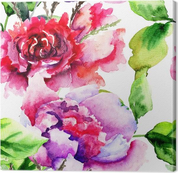 Quadro su Tela Seamless pattern con fiori Peonie • Pixers® - Viviamo ...