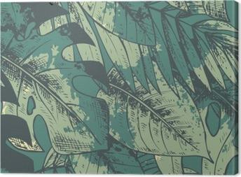 Quadro su Tela Seamless pattern con la mano verde disegnato piante tropicali