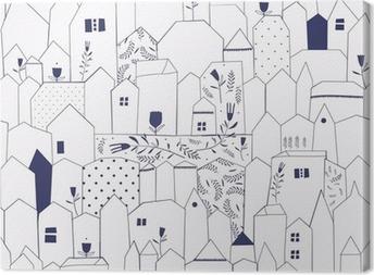 Quadro su Tela Seamless pattern. Figura città in stile vintage.