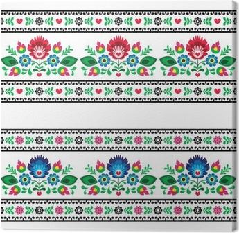 Quadro su Tela Seamless polacco folk pattern con fiori