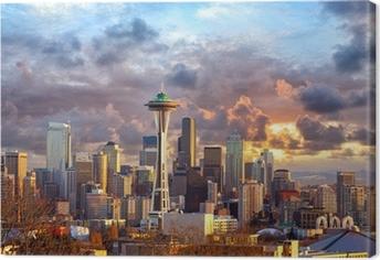 Quadro su Tela Seattle skyline al tramonto, WA, USA
