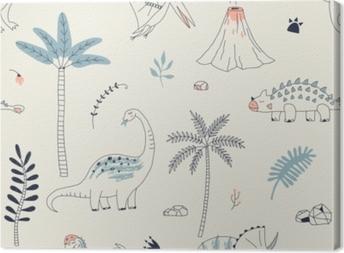 Quadro su Tela Senza cuciture infantile con dino disegnato a mano in stile scandinavo. sfondo vettoriale simile a un bambino creativo per tessuti, tessuti, abbigliamento e altro ancora