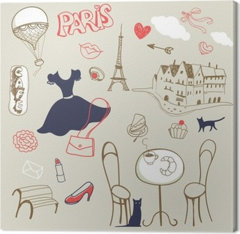 Quadro su Tela Set di mano disegnato simboli di Parigi