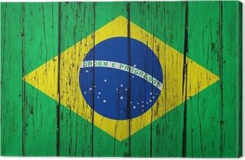 Quadro su Tela Sfondo Brazil Flag legno