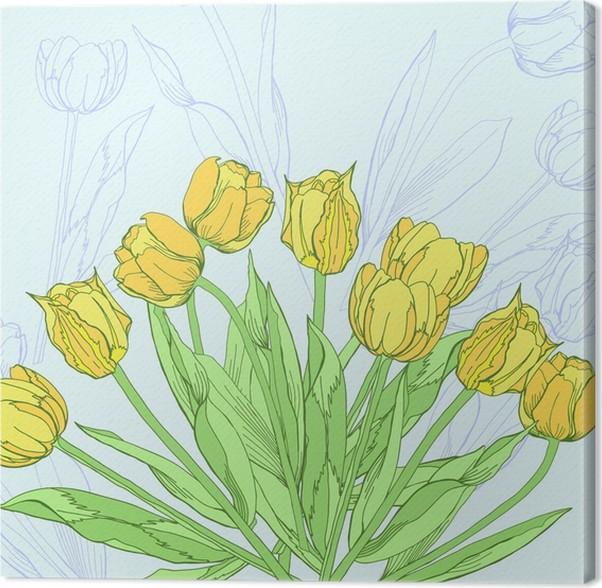 Quadro su Tela Sfondo con tulipani gialli. illustrazione di vettore ...