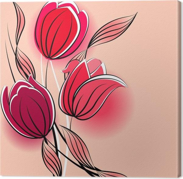 Quadro su Tela Sfondo pastello con tulipani stilizzati contorno ...