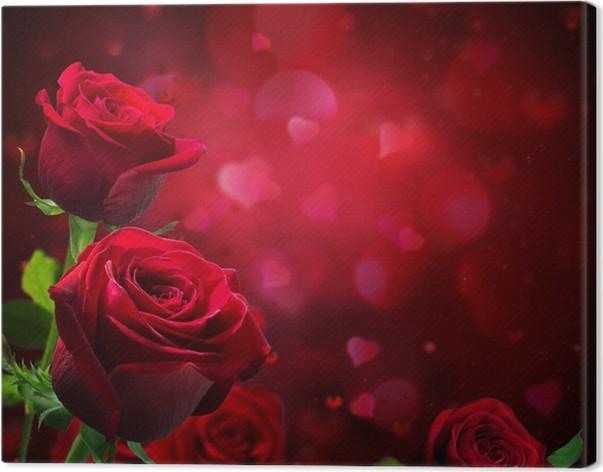 Quadro su Tela Sfondo San Valentino con cuori e rose rosse • Pixers ...