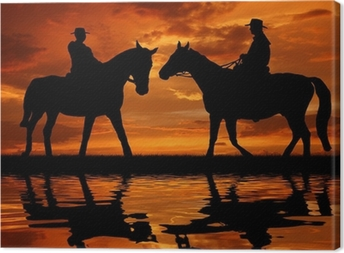 Quadro su Tela Silhouette cowboy a cavallo nel tramonto