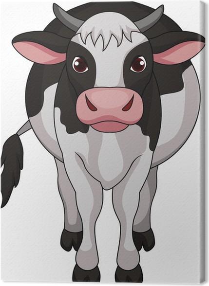 Quadro su tela simpatico cartone animato mucca pixers