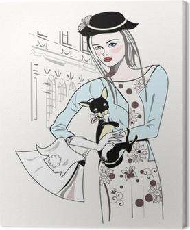 Quadro su Tela Sketch di moda retrò ragazza con un piccolo cane