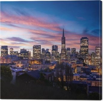 Quadro su Tela Skyline di San Francisco e la Bay Bridge al tramonto, California